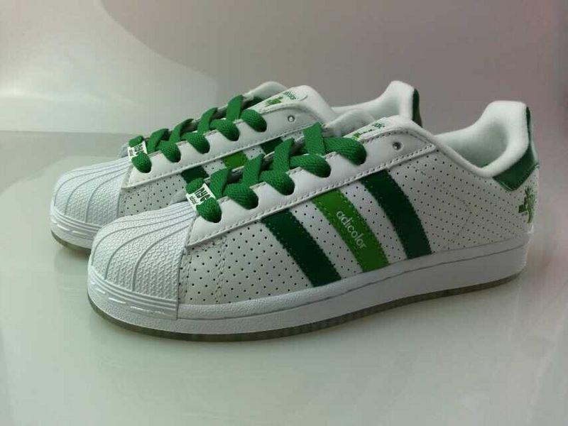 高品质官方原版原标原盒阿迪达斯adidas三叶草贝壳头白绿G6透气孔水晶底36